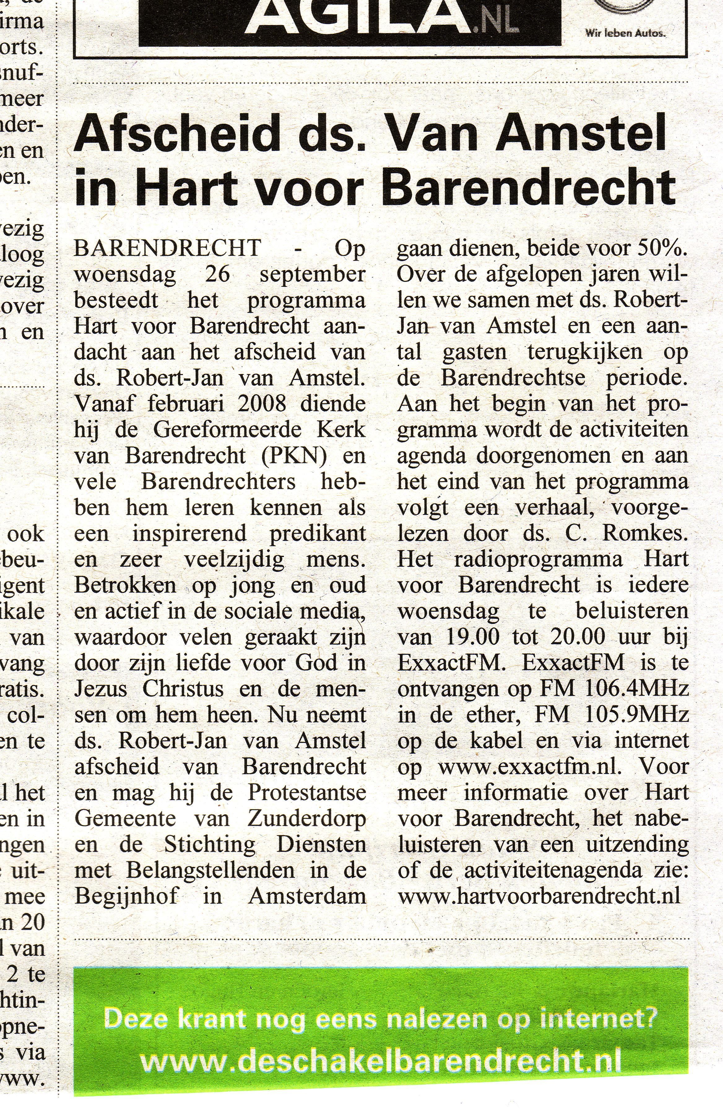 Aankondiging Hart voor Barendrecht / ExxactFM