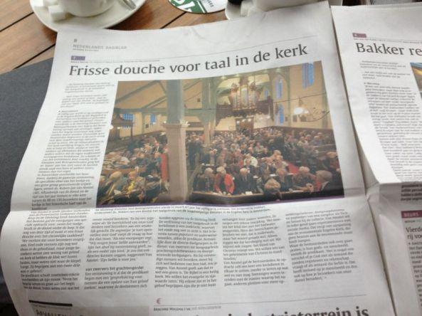 Foto (van J. Honing) met artikel uit het Nederlands Dagblad.