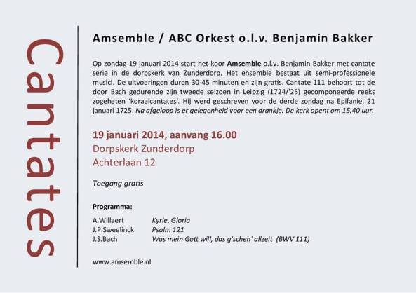 Flyer Amsemble concert 19 januari 2014
